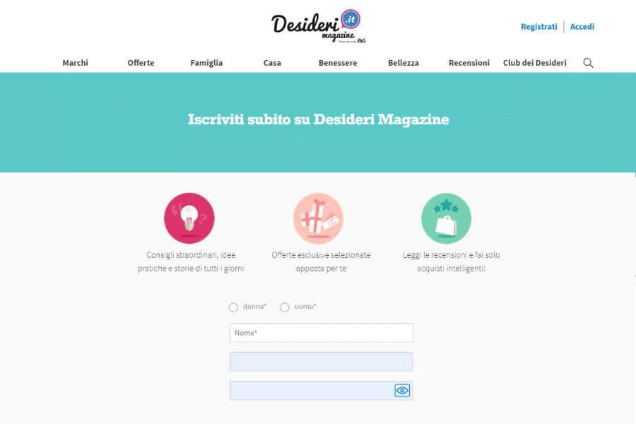 desiderimagazine iscrizione registrazione come funziona